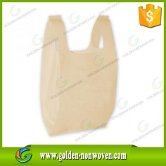 Eco Friendly Customized LOGO Non Woven T Shirt Bag made by Quanzhou Golden Nonwoven Co.,ltd